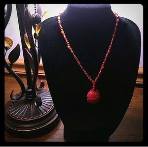 VTG 925 Carved Genuine Coral Rose, Amber Turquoise